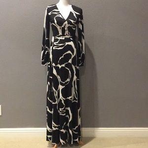 Black and white faux wrap maxi dress